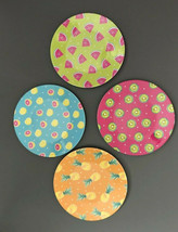 "Fruit Watermelon Melamine Appetizer Side Plates 6"" Set of 4 Beach Summer... - $24.63"