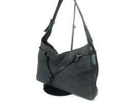 Authentic GUCCI GG Pattern Canvas Leather Dark Gray Shoulder Bag GS11915L - $149.00