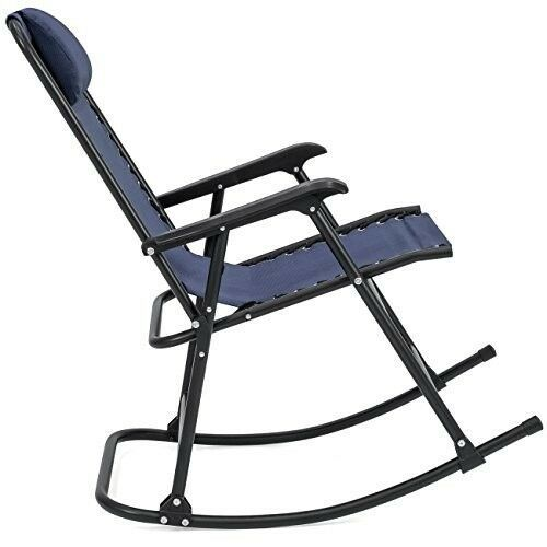 Folding Rocking Chair Patio Lawn Zero Gravity Blue Sling Back Outdoor Furniture