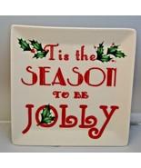 "Lenox Holiday Square Dish Tidbit Plate 6"" Tis the Season American by Des... - $12.99"