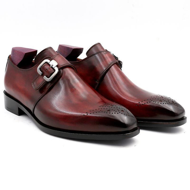 Handmade Men's Burgundy Color Brogues Style Monk Strap Leather Shoes