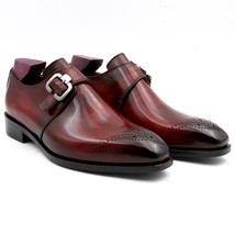 Handmade Men's Burgundy Color Brogues Style Monk Strap Leather Shoes image 1