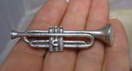 TRUMPET HORN Musical Vintage Brooch Pin in Sterling Silver - 2 1/4 inche... - $45.00