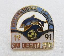 Vintage international classic soccer san dieguito surf 1991 pin dolphin  - $20.79