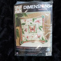 "Dimensions Honeysuckle Butterfly Pillow Cover 20021 Needlepoint Kit 18"" ... - $46.73"
