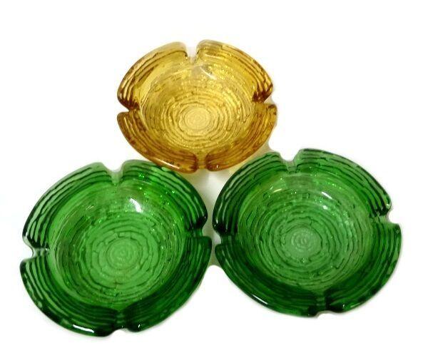 Soreno Glass Ashtray Set Pressed Bark Anchor Hocking Avocado Green Gold Amber