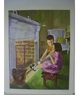 Children by Fireplace - Art Print - David C. Cook Co 1967 - $10.24