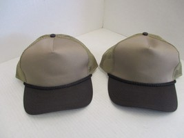 1 PAIR OF NEW KHAKI CAPS/HATS W/ BLACK BILL & ROPE-5 PANEL-TRUCKER-OC[3005 - $5.90