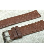 Perforated sports genuine leather calf brown watch band 22MM Racing Vintage - $18.23