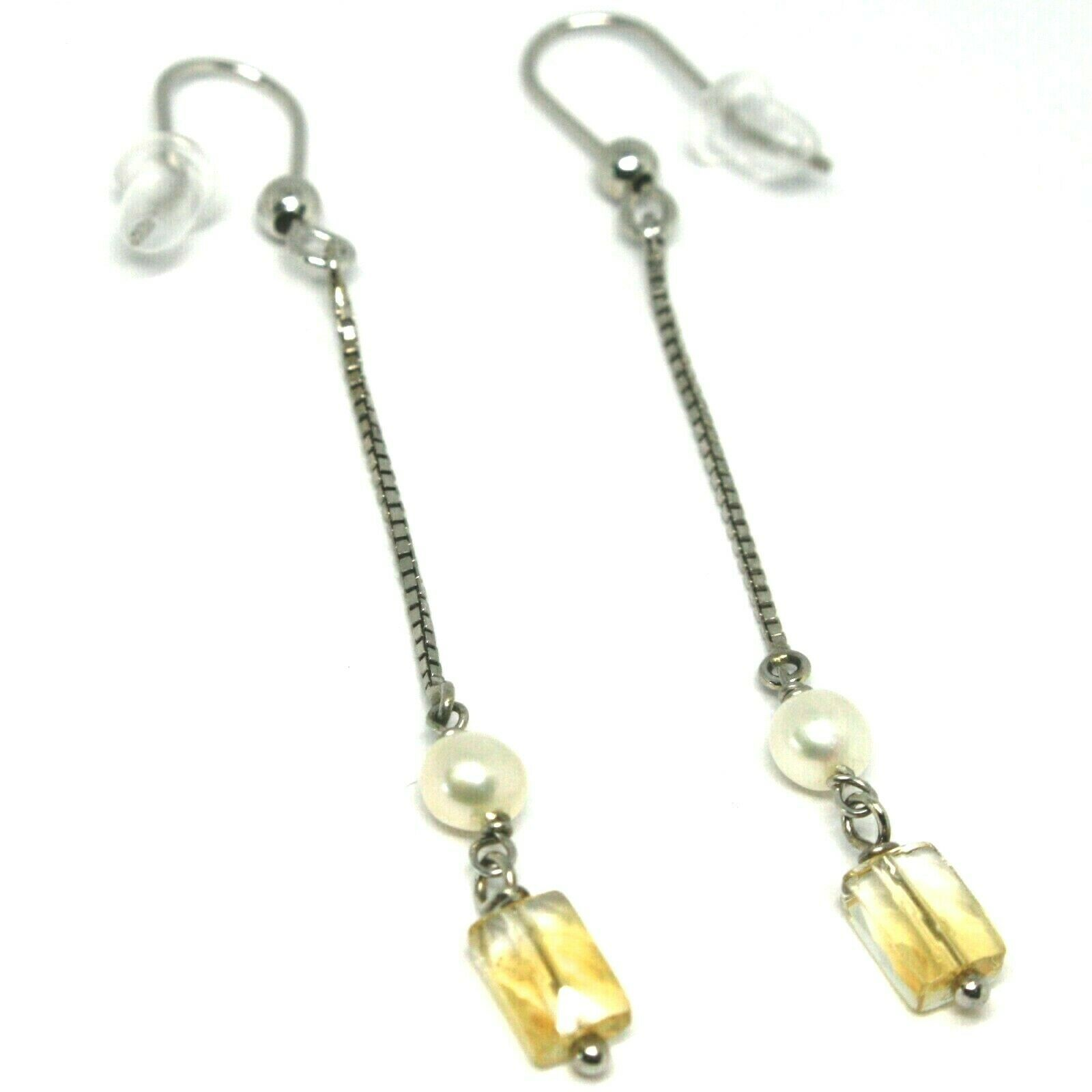White Gold Earrings 750 18K, Hanging with Rectangle Quartz Citrine, Pearls