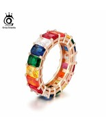 OrsaJewels® Rainbow Colorful Rings Eternity For Women Classic Wedding&En... - $17.74
