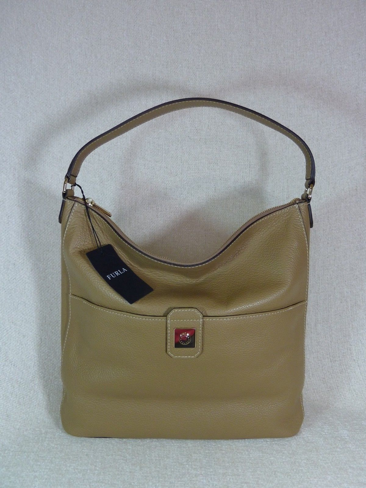 NWT Furla Cappuccino Pebbled Leather Jo Vertical Tote Bag image 5