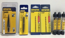 """(New) Irwin 9/64"""" 1/8"""" Drill Bits Set, 5/16""""-18NC Plug Tap, #1 Step Dril... - $36.62"""
