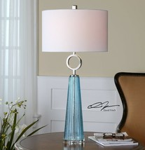 "XXL 34"" SEEDED GROOVED BLUE GLASS TABLE LAMP NICKEL METAL NAVIER UTTERMOST - $217.80"