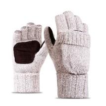 Womens Winter Warm Exposed Finger Mittens Knitted Flip Half Finger Gloves - $9.55