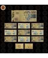 WR 10pcs Brazil Paper Money Gold Foil Banknote Fake Money Bank Note Set - $13.49