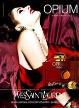 Perfume Opium Yves Saint Laurent Graphics Bottle Sheer Sensuality 1992 AD - $14.99