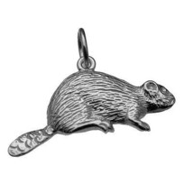 LOOK Canada Nickel Beaver Pendant Charm Real Genuine solid Sterling Silv... - $18.95