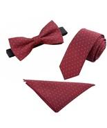 Mens Polyester Skinny 2.4'' Neck Tie Pre-tied Bow Tie Pocket Square/ Han... - $28.12