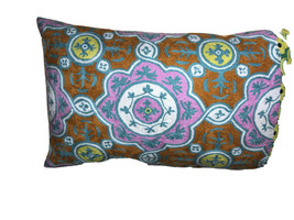 "URBAN OUTFITTERS Hand Embroidered Lg Pillow Cover 18X30"" Wool India Zip ... - $23.76"