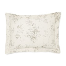 RALPH LAUREN HOXTON AINSLIE FLORE 1pc CREAM/GREY KING PILLOW SHAM bnip $115 - $44.17
