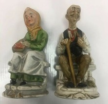 """antique/vintage old man and woman bisque statue/figurine 12""""tall 5"""" width - $24.74"""