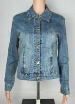 Baby Phat Vaqueros Co.Mujer Jean Jacket Azul Botón Dorado Delantero TALLA S - $26.14