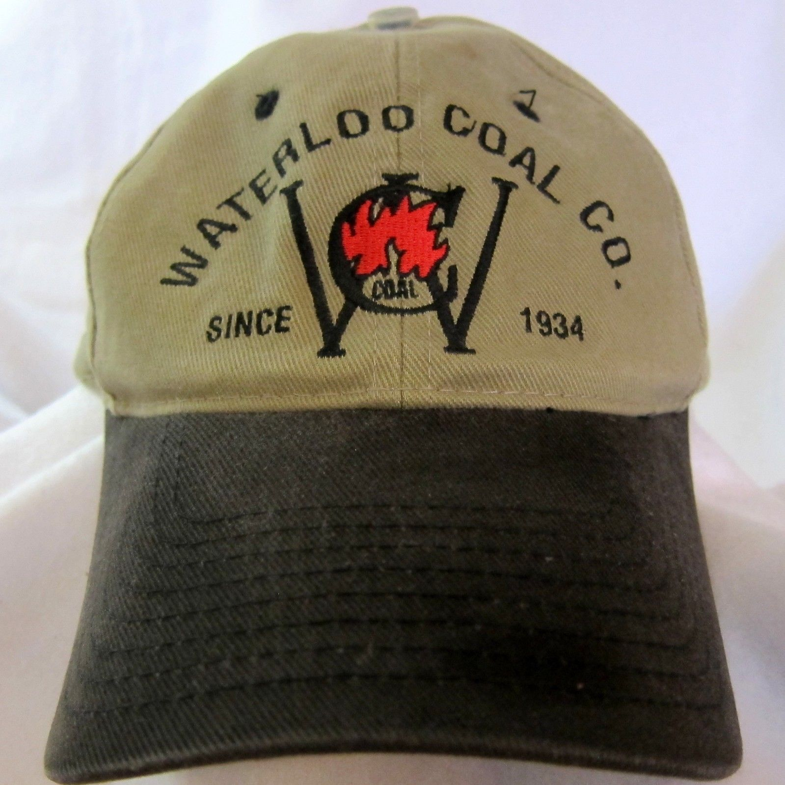 532e5dbf4 Waterloo Coal Company Since 1934 Adj Strapback Hat Ball Cap Cotton Khaki  Black -  24.74