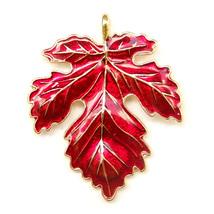 Brooch Red Gold Maple Autumn Falling Leaves Enamal Lapel Pin Lovely Elegant Gift - $6.99
