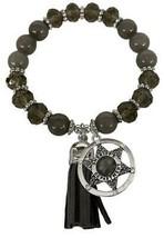 Sheriff Deputy Badge Gray Glass & Stone Bead Tassel Stretch Bracelet Jewelry - $15.83