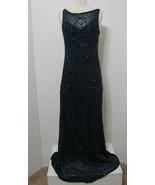Scala Gown 100% Silk Heavy Blue Bead Low Drape Back Formal Fluid Model L... - £273.67 GBP