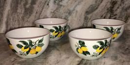 "Cereal Soup Ice Cream Bowls Royal Norfolk Ceramic Lemon 5.7"" Set Of 4-NEW-SHIP24 - $59.28"