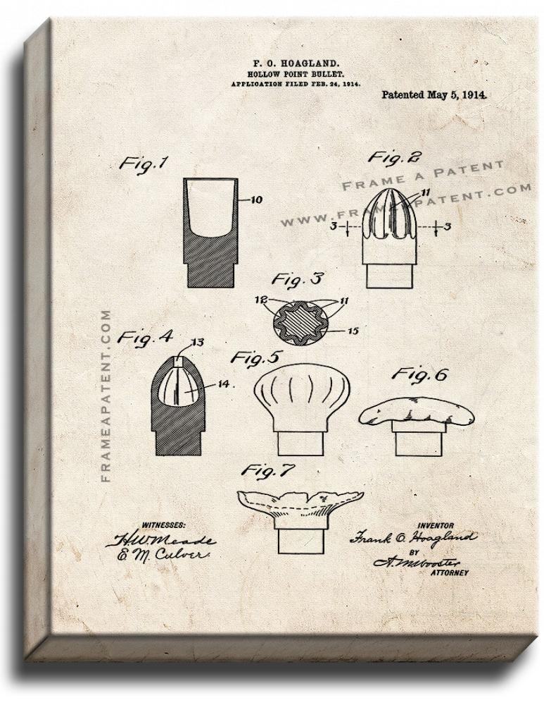 Primary image for Hollow-point Bullet Patent Print Old Look on Canvas