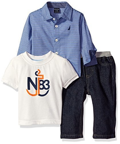 Nautica Boys' Three Piece Set with Long Sleeve Stripe Woven Shirt, Tee and Pant,