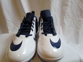 NWT Nike Superbad Pro Lunarlon Football Sz 15 White Blue Nike=Yellow Org $80 - $41.79