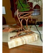 Vintage MCM SINGLE CURTIS JERE Copper Onyx School Desk Sculpture BOOKEND... - $42.57