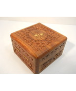 Carved Wood Square Box with Brass Inlay  nBox35 - $21.99