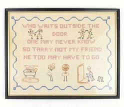 Vtg 1960 Framed Embroidery Wall Shelf Art Who Waits Outside The Door Poe... - £26.72 GBP