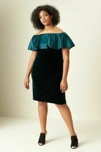 Adrianna Papell Stretch Velvet OFF SHOULDER Sheath Dress Plus Size 14 - $126.72