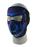 SKULL Blue Chrome Neoprene Face Mask Biker Motorcycle Ski Snowmobile Sno... - $12.99