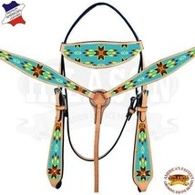 Western Horse Headstall Breast Collar Set American Leather Beaded Hilaso... - $108.85