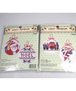 2 Daisy Kingdom Christmas Ornament Cross Stitch Kits Noel Santa train Bu... - $29.63