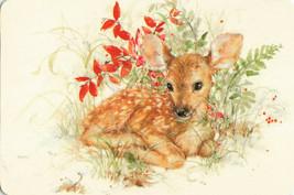 Vintage Beautiful Baby Deer Painting Colorful Printed Postcard By Hallmark - $9.74