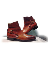 Handmade Men New Tan Alligator Leather boot, Men Jodhpurs Buckle Ankle H... - $169.97+