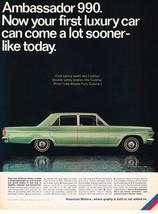 Vintage 1966 Magazine Ad American Motors Ambassador 990 Has Quality Built In - $5.93