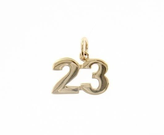 18K YELLOW GOLD NUMBER 23 TWENTY THREE PENDANT CHARM .7 INCHES 17 MM MADE ITALY