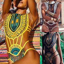 Womens Tribal Ethnic Swimsuit Monokini Swimwear One Piece Bikini Bathing Costume