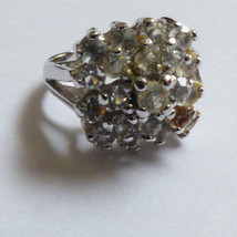 VTG Sterling Silver .925 Round cut Clear Pyramid CZ Ring size 5.5 - $44.55
