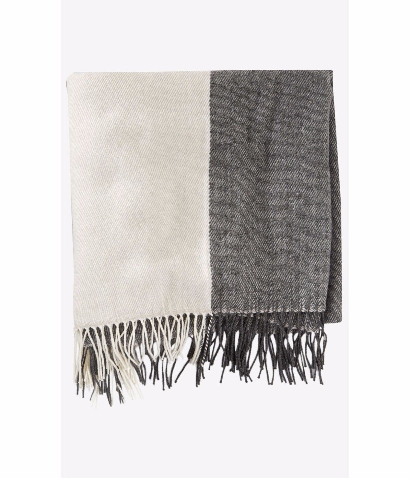 New $50 Express Women's oversized Colorblock blanket scarf ivory gray