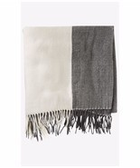 New $50 Express Women's oversized Colorblock blanket scarf ivory gray - ₨862.38 INR